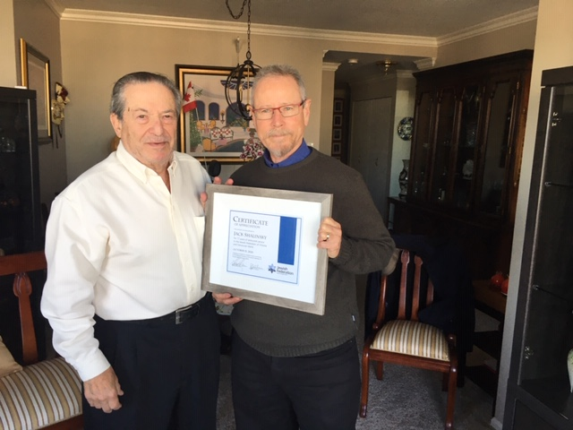 jack shalinsky and aaron devor, jewish federation of victoria and vancouver island certificate